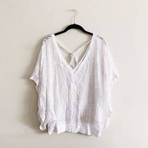 Language Silk White Embroidered Top